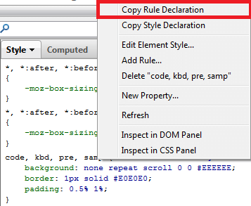 CSS - Copy Rule Declaration