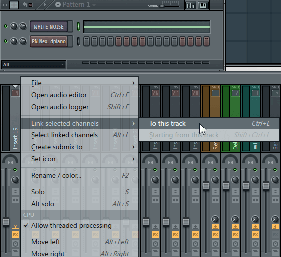Route White Noise to Mixer Track