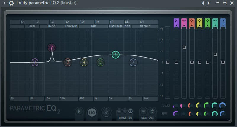 fruity parametric eq 2 - narrow and wide q